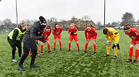 illustration picture showing Head coach Audrey Demoustier of Woluwe giving peptalk ahead of  a female soccer game between Club Brugge Dames YLA and White Star Woluwe on the 12 th matchday of the 2020 - 2021 season of Belgian Scooore Womens Super League , saturday 30 January 2021  in Brugge , Belgium . PHOTO SPORTPIX.BE | SPP | DAVID CATRY