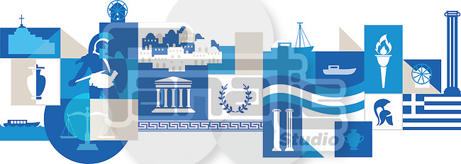 Illustrative collage of Greece over white background