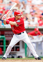 15 June 2006: Brendan Harris, infielder for the Washington Nationals, in action against the Colorado Rockies at RFK Stadium, in Washington, DC. The Rockies defeated the Nationals, 8-1 to sweep the four-game series...Mandatory Photo Credit: Ed Wolfstein Photo...