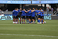 SAN JOSE, CA - AUGUST 13: San Jose Earthquakes huddle before a game between Vancouver Whitecaps and San Jose Earthquakes at PayPal Park on August 13, 2021 in San Jose, California.
