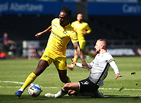 17th April 2021; Liberty Stadium, Swansea, Glamorgan, Wales; English Football League Championship Football, Swansea City versus Wycombe Wanderers; Anthony Stewart of Wycombe Wanderers tackles Conor Hourihane of Swansea City