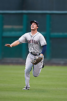 Colorado Springs Sky Sox right fielder Brett Phillips (8) calls for a fly ball during a game against the Oklahoma City Dodgers on June 2, 2017 at Chickasaw Bricktown Ballpark in Oklahoma City, Oklahoma.  Colorado Springs defeated Oklahoma City 1-0 in ten innings.  (Mike Janes/Four Seam Images)
