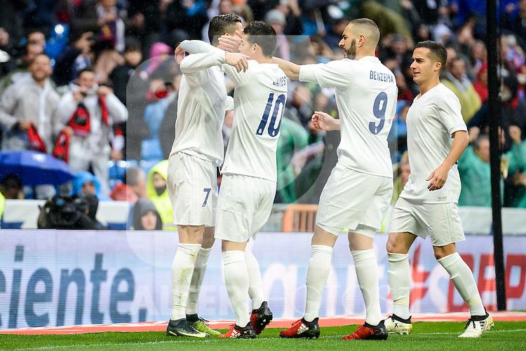 Real Madrid's player Cristiano Ronaldo, James Rodriguez, Karim Benzema and Lucas Vazquez celebrating a goal during match of La Liga between Real Madrid and Sporting de Gijon at Santiago Bernabeu Stadium in Madrid, Spain. November 26, 2016. (ALTERPHOTOS/BorjaB.Hojas)