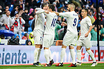 Real Madrid's player Cristiano Ronaldo, James Rodriguez, Karim Benzema and Lucas Vazquez celebrating a goal during match of La Liga between Real Madrid and Sporting de Gijon at Santiago Bernabeu Stadium in Madrid, Spain. November 26, 2016. (ALTERPHOTOS/BorjaB.Hojas)