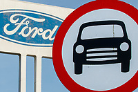 Thursday 02 March 2017<br /> Pictured: Ford Signage behind a ford sign outside the  Bridgend Factory <br /> Re: Ford expects to cut more than 1,100 jobs from its Bridgend plant by 2021, casting doubt on the future of the Welsh engine facility.