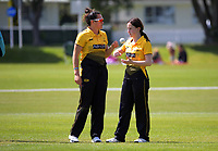 Thamsyn Newton chats with Kate Chandler during the women's Hallyburton Johnstone Shield one-day cricket match between the Wellington Blaze and Central Hinds at Donnelly Park in Levin, New Zealand on Sunday, 6 December 2020. Photo: Dave Lintott / lintottphoto.co.nz