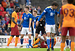 St Johnstone v Galatasaray…12.08.21  McDiarmid Park Europa League Qualifier<br />Jason Kerr has a laugh with Mbaye Diagne<br />Picture by Graeme Hart.<br />Copyright Perthshire Picture Agency<br />Tel: 01738 623350  Mobile: 07990 594431