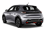 Car pictures of rear three quarter view of 2020 Peugeot e-208 GT 5 Door Hatchback Angular Rear