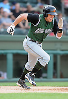 Infielder Adam Duvall (9) of the Augusta GreenJackets, Class A affiliate of the San Francisco Giants, in a game against the Greenville Drive on April 10, 2011, at Fluor Field at the West End in Greenville, S.C. Photo by Tom Priddy / Four Seam Images