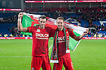 UEFA EURO 2016 Qualifier match between Wales and Andorra at Cardiff City Stadium in Cardiff : Gareth Bale and Chris Gunter celebrating at full time.