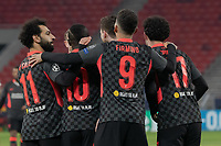 210217 -- BUDAPEST, Feb. 17, 2021 -- Mohamed Salah, Sadio Mane, Roberto Firmino and Curtis Jones front L-R celebrate for scoring during the UEFA Champions League Round of 16 first Leg football match between Leipzig and Liverpool in Budapest, Hungary, Feb. 16, 2021. Photo by /Xinhua SPHUNGARY-BUDAPEST-UEFA CHAMPIONS LEAGUE LEIPZIG VS LIVERPOOL AttilaxVolgyi PUBLICATIONxNOTxINxCHN <br /> Budapest 16/02/2021 Stamford Bridge <br /> Football Uefa Champions League 2019/2020 Round of 16 Leg 1<br /> RB Leipzig - FC Liverpool <br /> Photo Imago/Insidefoto <br /> ITALY ONLY