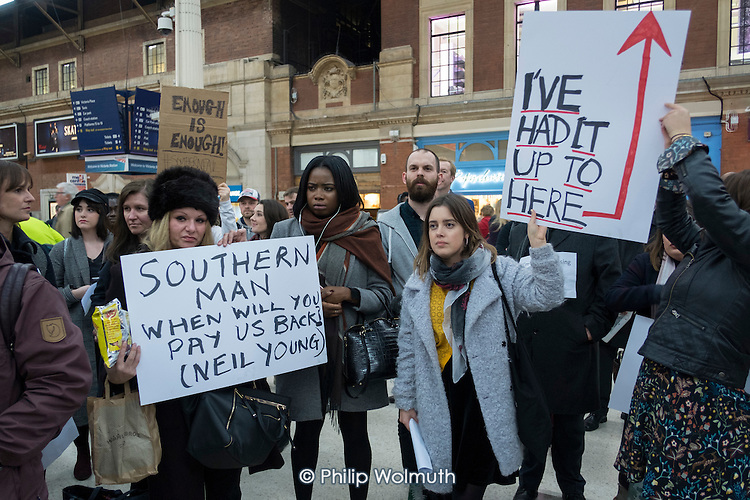 London Victoria Southern Rail passengers protest at poor services.