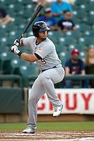 Sacramento River Cats shortstop Brandon Hicks #9  at bat during the Pacific Coast League baseball game against the Round Rock Express on May 22, 2012 at The Dell Diamond in Round Rock, Texas. The Express defeated the River Cats 11-5. (Andrew Woolley/Four Seam Images).