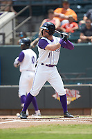 Luis Gonzalez (8) of the Winston-Salem Dash at bat against the Buies Creek Astros at BB&T Ballpark on July 15, 2018 in Winston-Salem, North Carolina. The Dash defeated the Astros 6-4. (Brian Westerholt/Four Seam Images)