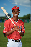 Batavia Muckdogs Brayan Hernandez (23) poses for a photo before a NY-Penn League game against the West Virginia Black Bears on June 26, 2019 at Dwyer Stadium in Batavia, New York.  Batavia defeated West Virginia 4-2.  (Mike Janes/Four Seam Images)
