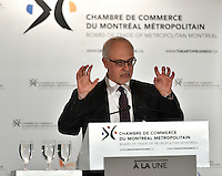 Montreal, CANADA, March 30, 2015. <br /> <br /> <br /> Mr. Carlos Leitao, Minister of Finance and Member for Robert-Baldwin, speaks before the Board of Trade of Metropolitan Montreal<br /> <br />  Photo : Philippe Manh Nguyen - Agence Quebec Presse