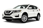 Stock pictures of low aggressive front three quarter view of 2018 Nissan Rogue S 5 Door SUV Low Aggressive