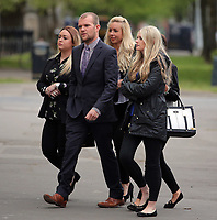 COPY BY TOM BEDFORD<br /> Pictured: Melissa Pesticcio (L) arrives with friends and family at Cardiff Crown Court. Monday 24 April 2017<br /> Re: A woman is due to stand trial in connection with the death of a young woman in Cardiff last summer.<br /> Melissa Pesticcio has denied four offences in relation to the death of 22-year-old Sophie Taylor in the early hours of August 22 2016.<br /> 23-year-old Pesticcio entered not guilty pleas to two counts of dangerous driving and two of aiding and abetting her co-defendant Michael Wheeler.<br /> Michael Wheeler, 22, pleaded guilty in December to causing death and serious injury by dangerous driving.<br /> Lewis Hall, a third defendant, was sentenced in January after he admitted intending to pervert the course of justice.