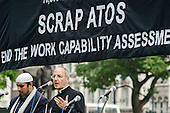 David Ison, Dean of St.Paul's. 10,000 Cuts and Counting memorial service in Parliament Square, London, to commemorate those who have died shortly after undergoing a Work Capability Assessment by government contractor Atos.