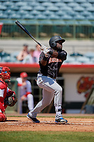 Jupiter Hammerheads first baseman Lazaro Alonso (44) bats during a Florida State League game against the Florida Fire Frogs on April 11, 2019 at Osceola County Stadium in Kissimmee, Florida.  Jupiter defeated Florida 2-0.  (Mike Janes/Four Seam Images)