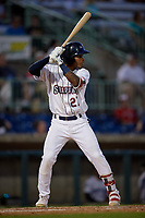 Mahoning Valley Scrappers Pedro Alfonseca (27) at bat during a NY-Penn League game against the Hudson Valley Renegades on July 15, 2019 at Eastwood Field in Niles, Ohio.  Mahoning Valley defeated Hudson Valley 6-5.  (Mike Janes/Four Seam Images)