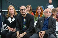 From right, NH Democratic governor candidate Andru Volinsky, activist Shaun King, and wife Jane O'Meara Sanders, listen as Democratic presidential candidate and Vermont senator Bernie Sanders speaks at a campaign event at Hampshire Hills Athletic Club in Milford, New Hampshire, on Tue., Feb. 4, 2020. The  event started around 7pm and was the first event Sanders held after the previous day's Iowa Caucuses. The results of the caucuses were unknown until the Democratic party released partial numbers at 5pm, showing Sanders and former South Bend, Ind., mayor Pete Buttigieg both as frontrunners. Volinsky is the first governor candidate in the US to be endorsed by Sanders. Volinsky, King, and Jane Sanders all spoke before Bernie Sanders took the stage.