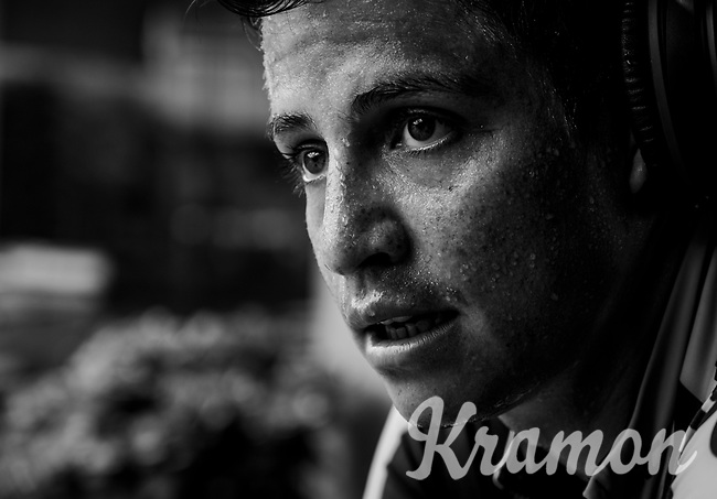 Esteban Chavez (COL/Mitchelton-Scott) training on the rollers (because of the rain) on the 2nd restday (27 may) of the 102nd Giro d'Italia 2019 <br /> <br /> ©kramon
