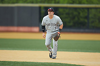 Davidson Wildcats first baseman Brett Centracchio (5) on defense against the Wake Forest Demon Deacons at David F. Couch Ballpark on May 7, 2019 in  Winston-Salem, North Carolina. The Demon Deacons defeated the Wildcats 11-8. (Brian Westerholt/Four Seam Images)