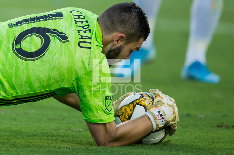 CARSON, CA - SEPTEMBER 29: GK Maxime Crepeau #16 of the Vancouver Whitecaps saves a ball during a game between Vancouver Whitecaps and Los Angeles Galaxy at Dignity Health Sports Park on September 29, 2019 in Carson, California.