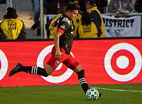 WASHINGTON, DC - MARCH 07: Yamil Asad #11 of DC United on the attack during a game between Inter Miami CF and D.C. United at Audi Field on March 07, 2020 in Washington, DC.
