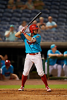 Clearwater Beach Dogs Matt Vierling (28) bats during a Florida State League game against the Charlotte Stone Crabs on July 26, 2019 at Spectrum Field in Clearwater, Florida.  Clearwater defeated Charlotte 6-5.  (Mike Janes/Four Seam Images)