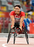 Chantal Petitclerc from Montreal Qc, qualified in the 400 m t-54<br /> After the qualification<br /> - Photo Benoit Pelosse-CPC