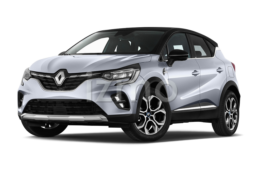 Stock pictures of low aggressive front three quarter view of 2020 Renault Captur E-Tech-First 5 Door SUV Low Aggressive