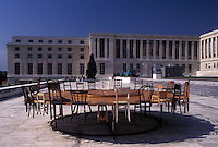 Geneva, UN, Switzerland, Palais des Nations, Sculpture of a round table at the European Headquarters of the United Nations in the city of Geneva.