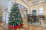 WA, Bellevue, Christmas Tree & Dining Room
