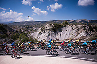 Team Astana, with red jersey (overall leader) Miguel Angel Lopez (COL/Astana), leading the peloton<br /> <br /> Stage 2: Benidorm to Calpe (199.6km)<br /> La Vuelta 2019<br /> <br /> ©kramon