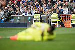Goalkeeper Diego Lopez of RCD Espanyol lies injured on the pitch during the match Real Madrid vs RCD Espanyol, a La Liga match at the Santiago Bernabeu Stadium on 18 February 2017 in Madrid, Spain. Photo by Diego Gonzalez Souto / Power Sport Images