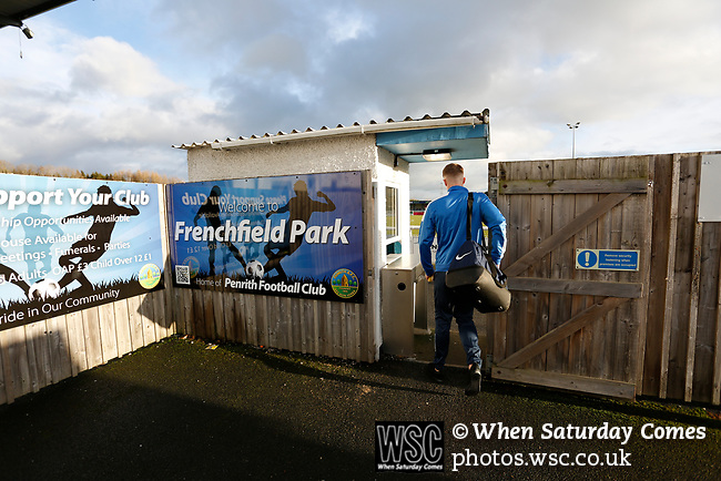 A Penrith player arrives at the ground. Penrith AFC V Hebburn Town, Northern League Division One, 22nd December 2018. Penrith are the only Cumbrian team in the Northern League. All the other teams are based across the Pennines in the north east.<br /> Penrith, winless at kick off, lost a thriller 3-4, in front of 100 people. They won five games all season, but were reprieved from relegation following Blyth's resignation from the league.