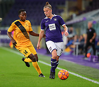 20190912 - Anderlecht , BELGIUM : BIIK-Kazygurt's Rachel Kundananji (left) and Anderlecht's Laure Deloose (right) pictured during the female soccer game between the Belgian Royal Sporting Club Anderlecht Dames  and BIIK Kazygurt from Shymkent in Kazachstan, this is the first leg in the round of 32 of the UEFA Women's Champions League season 2019-20120, Thursday 12 th September 2019 at the Lotto Park in Anderlecht , Belgium. PHOTO SPORTPIX.BE | SEVIL OKTEM