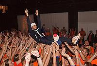 14-sept.-2013,Netherlands, Groningen,  Martini Plaza, Tennis, DavisCup Netherlands-Austria, Jean-Julien Rojer goes crowdsurfing<br /> Photo: Henk Koster