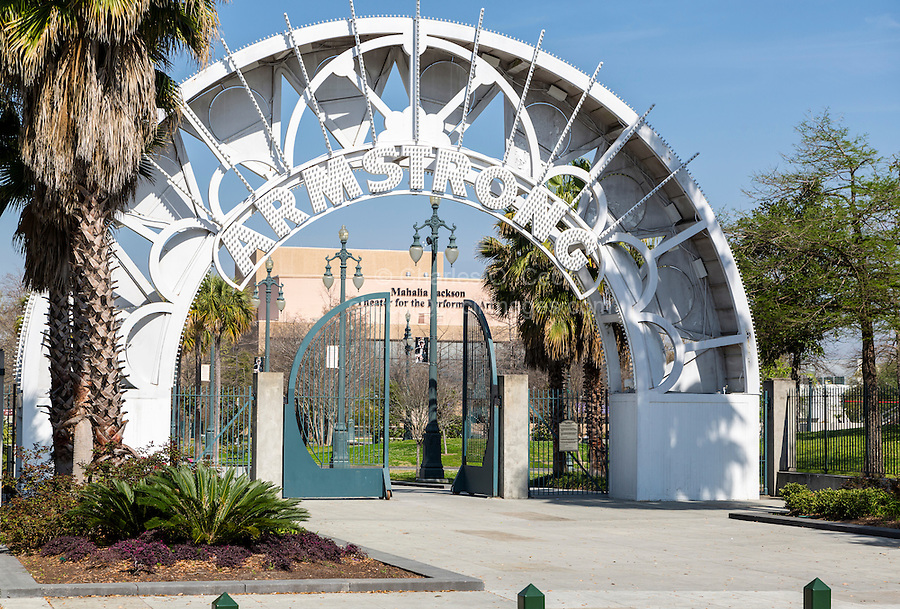 New Orleans, Louisiana.  Entrance to Louis Armstrong Park.  Mahalia Jackson Theater for the Performing Arts in Background.