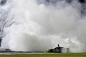 Monster Energy NASCAR Cup Series<br /> Monster Energy NASCAR All-Star Race<br /> Charlotte Motor Speedway, Concord, NC USA<br /> Saturday 20 May 2017<br /> Kyle Busch, Joe Gibbs Racing, M&M's Caramel Toyota Camry does a burn out.<br /> World Copyright: Rusty Jarrett<br /> LAT Images<br /> ref: Digital Image 17CLT1rj_5101