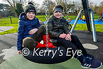 Enjoying the swings in the Tralee town park on Saturday, l to r: Conor Lyons and Jay Dooley.
