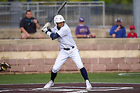 Dallas Jesuit Rangers Jordan Lawlar (5) bats during a game against the Richardson Eagles on April 24, 2021 at Wright Field in Dallas, Texas.  (Ken Murphy/Four Seam Images)