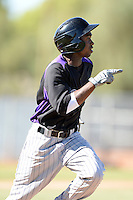 Colorado Rockies outfielder Wilson Soriano (1) during an instructional league game against the Los Angels Angels of Anaheim on September 30, 2013 at Tempe Diablo Stadium Complex in Tempe, Arizona.  (Mike Janes/Four Seam Images)