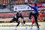 Essens Zechel, Tim gegen Ludwigshafens Martin Tomovski (Nr.12)  beim Spiel in der Handball Bundesliga, Die Eulen Ludwigshafen - Tusem Essen.<br /> <br /> Foto © PIX-Sportfotos *** Foto ist honorarpflichtig! *** Auf Anfrage in hoeherer Qualitaet/Aufloesung. Belegexemplar erbeten. Veroeffentlichung ausschliesslich fuer journalistisch-publizistische Zwecke. For editorial use only.