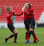Katie Zelem of Manchester United Women cele on goal with Alex Greenwood of Manchester United Women and Lizzie Arnot of Manchester United Women