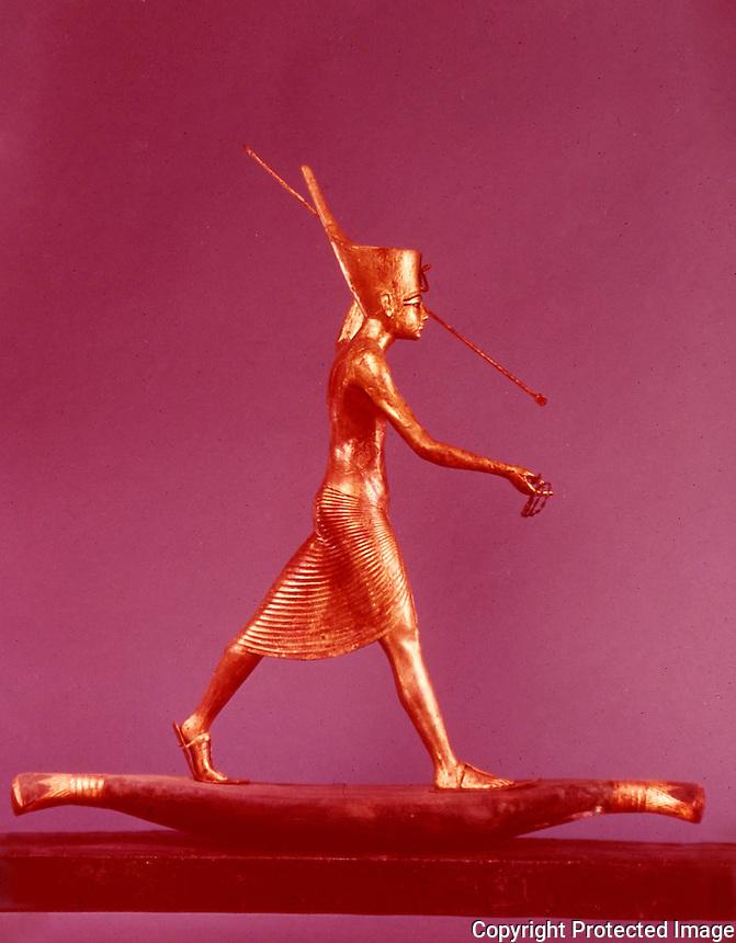 Egypt:  The Harpooner--gilded wood.  Treasures of Tutankhamun, Cairo Museum.  MMA 1976.