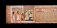 Ancient Egyptian Book of the Dead papyrus - From  tomb of Kha & Merit, Theban Tomb 8 , mid-18th dynasty (1550 to 1292 BC), Turin Egyptian Museum.  Black background