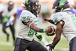 North Texas Mean Green wide receiver Jaelon Darden (84) in action during the game between the North Texas Mean Green and the SMU Mustangs at the Gerald J. Ford Stadium in Fort Worth, Texas.